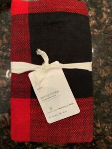 NEW Pottery Barn Set / 2 Bryce Check EURO Pillow Shams Red / Black