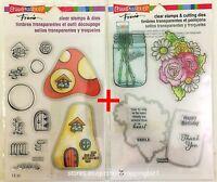 Stampendous Lot Cutting Dies & Clear Stamps Mushroom Home & Flower Mason Jar set