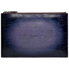 TERSE Second bag leather lightweight Clutch back Blue gray Japan F/S New