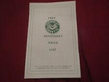 1967 CHEVROLET CORVETTE DEALER MODEL OPTION PRICE LIST