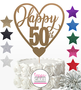 Happy 50th Birthday Glitter Cake Topper 50 Fifty Mum Auntie Sister