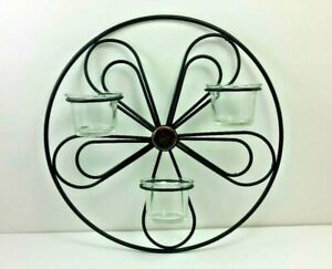 Wrought Iron Metal Wall Sconce Tea Light Candle Holder Black Flower New In Box