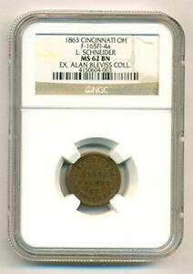 Civil War Token 1863 Cincinnati OH L Schneider F165FI-5a Label Error MS62 BN NGC