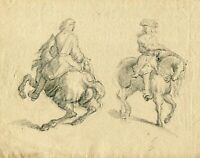 19th century Vintage Pencil Drawing - Dessin Ancien - Man on a Horse
