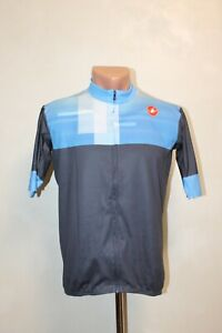 Castelli Cycling Jersey Shirt Bike Cycle Size L Blue Grey Mens Adult Full Zip
