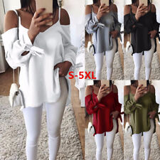 Plus Size Womens Chiffon Cold Shoulder Blouse T-shirt Ladies Belted Sleeve Tops