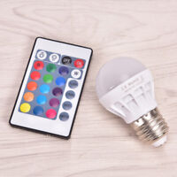 E27 3W Dimmable RGB LED Light Bulb Lamp Color Changing IR Remote AC 85-265Vs!