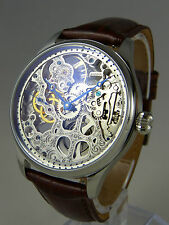 UNIQUE skelet Uhr Seagull mechanical movement type UNITAS 6497 skeleton watch