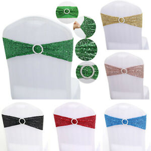 Elastic Satin Chair Sashes Cover Bow Band Wedding Banquet Party Event Decoration