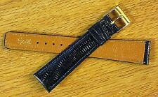 Classic 19mm Genuine Teju Lizard Navy Blue Vintage Watch Band NOS 1980s