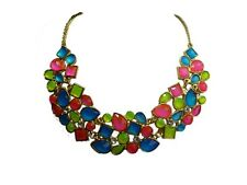 Neon Pink Green Blue Diamond Statement Fashion Necklace in Gold & Diamond Chain
