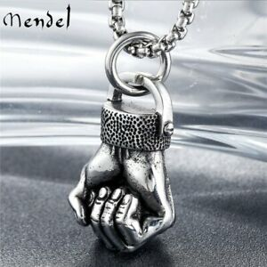 MENDEL Cool Mens Boxing Fist Glove Pendant Necklace Stainless Steel Chain Set