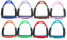 FLEXI SAFETY STIRRUPS HORSE RIDING BENDY IRONS STAINLESS STEEL 8 COLORS CRW