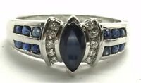 Sterling Silver Marquise Blue Sapphire Pave CZ Elegant Petite Cocktail Ring Sz 7