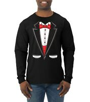 Tuxedo Bow Tie Womens Humor Long Sleeve Party T Shirt Funny Suit Parody Tee