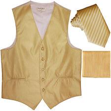 """New Men's Formal Vest Tuxedo Waistcoat_2.5"""" slim necktie set wedding gold"""