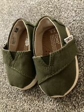 Toms Tiny Classics Baby/Toddler shoes Green T3 Or 6/9 Months UK Size 2 BNWOB