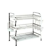 3 Tier Chrome Plated Steel Dish Drainer Plates Cups Glass Rack Holder Drip Tray