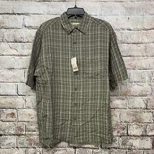 FieldMaster Men's Size Medium Linen Casual Shirt Stripe Short Sleeve (Q-43)