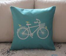 "17"" Turquoise Aqua Bike Birds Cotton Linen Throw Pillow Cushion Cover Decor Z718"