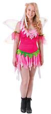GIRLS TEEN FESTIVAL FLOWER FAIRY PINK TINKERBELL COSTUME NEW AGE 12-15 SIZE 4-6