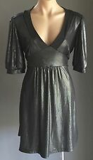 Stunning!! RIKI NATHAN Charcoal Grey Wet Look Tie Back Empire Waist Dress Size14