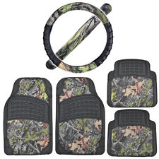 Heavy Duty Rubber Floor Mats + Steering Wheel Cover Black w/ Camo Accents