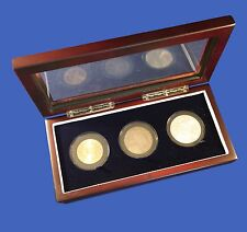 Wood Display Glass Top Box Extra Large Three Coin / Challenge Coin Capsule