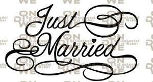 """Aufkleber """"Just Married"""" Autoaufkleber, Hochzeit (1224) Groß"""