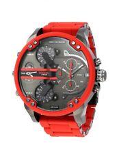 Neu Diesel DZ7370 MR Daddy 2.0 Rot Silikon 4-Time Zone Chronograph Herren Uhr