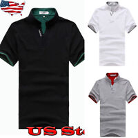 New Mens Summer Solid Color Shirt Short Sleeve Contrast Color Stand Collar Tops