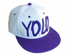 Yolo Basecap Baseball SNAP BACK CAP Weiß Lila Fittet Damen Herren Yo 5