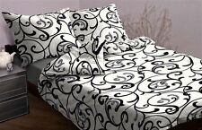 3-tlg Mako ropa de cama satinada Blanco Negro 155x200 ¡NUEVO! Ornamento Patrón