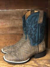 Roper Men's Vintage Brown & Midnight Blue Square Toe Western Boots 0223