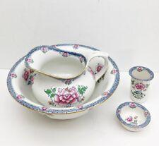 CETEM WARE Hong Kong 4 Pc Washbasin Set C.T. Maling  Pink Flora Blue Early 1900s