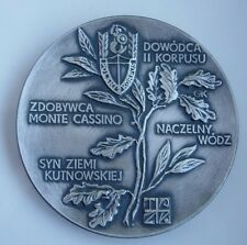 GEN ANDERS MONTE CASSINO WWII POLAND POLISH 2nd CORPS MEDAL silvered