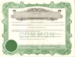 Jackeet Inc. > 1971 Sharon Pennsylvania stock certificate