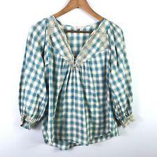 Rebecca Taylor Womens V-Neck Peasant Shirt Size 4 Plaid Lace Trim 3/4 Sleeve Top