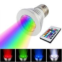 E27 3W LED RGB Ampoule Spot Lumière Télécommande sans fil Multicolore Lampe