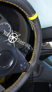 Pour BMW 3 Série E46 98-05 Perforé Housse Volant Cuir + Jaune Bracelet