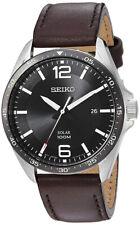 Seiko Men's 'Sport Watches' Quartz Stainless Steel Brown Leather Watch SNE487