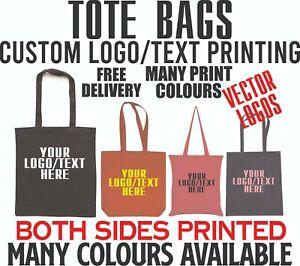 Custom Tote Bag Printed Text Logos Personalised Promo Bags Gifts Work Advertise