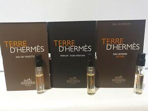 Terre D'Hermes EDT & EAU INTENSE VETIVER 2ml sample sprays x 1 of each