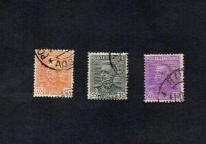 ITALY. 1928/9. VICTOR EMMANUEL 15c/35c/50c DEFINS. GIBBONS no's 224-6. VGU c18E+