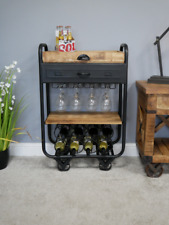 Industrial Wine Trolley Table Dining Sitting Room Home Deco