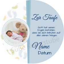 Tortenaufleger Taufe6 blau mit Wunschtext und Foto / 20 cm Ø