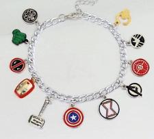 NEW Silver Plated Charm Bracelet - MARVEL AVENGERS SHIELD - Iron Man,Hulk,Thor