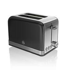 Swan ST19010BK 2 Slice Stainless Steel Retro Black Toaster - New