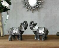 2x Silver Mosaic Elephant Ornaments Sparkle Safari Animal Home Decor Figure