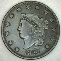 1828 Coronet Head US One Cent Penny Coin 1c Large Cent Copper Coin VF Very Fine